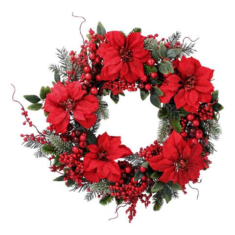 Gisela Graham Fir Wreath with Red Poinsetta/Berries