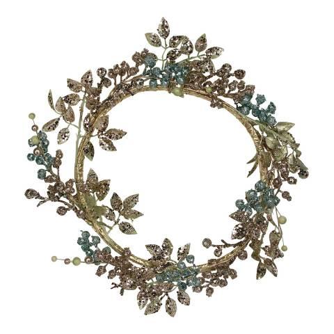 Gisela Graham Pale Gold/Turquoise Glitter Leaf/Berry Wreath