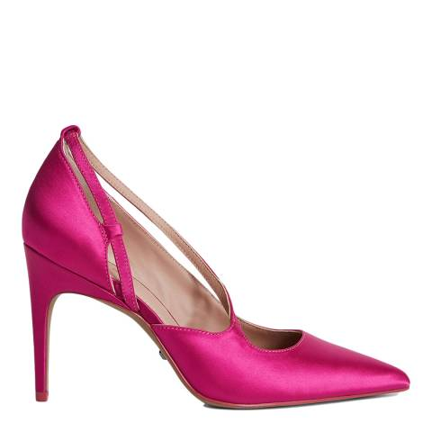 Reiss Hot Pink Geniveve Leather & Satin Court Shoes