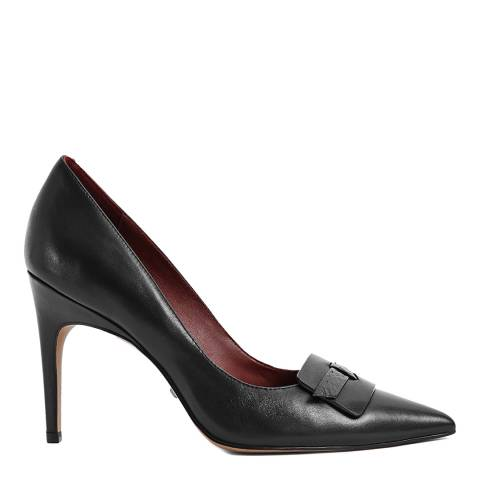 Reiss Black Harriet Leather Court Shoes
