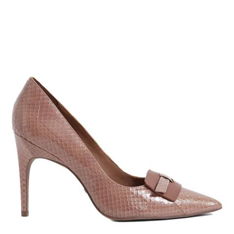 Reiss Toffee Harriet Snake Court Shoes