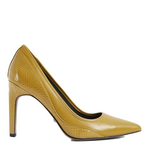 Reiss Chartreuse Maddy Leather Court Shoes