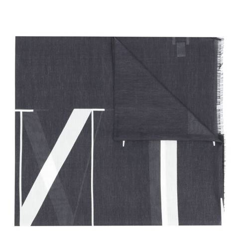 Valentino Black Valentino Print Woven Scarf