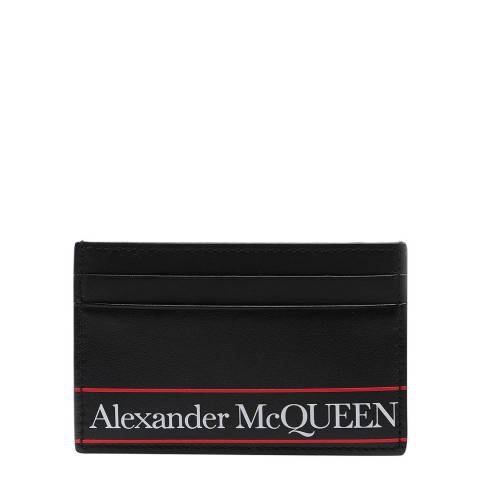 Alexander McQueen Men's Black/White/Red Leather Card Holder