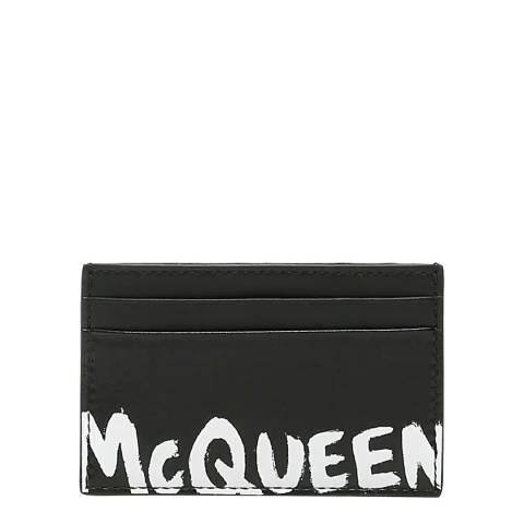 Alexander McQueen Men's Black/White Graffiti Leather Card Holder