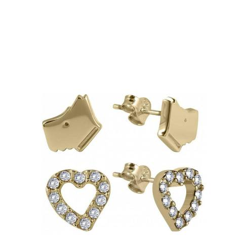 Radley Gold Dog and Heart Stud Set