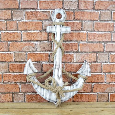 The Satchville Gift Company Whitewashed Wooden Anchor