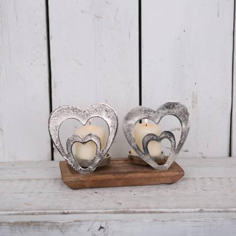 The Satchville Gift Company Aluminium Hearts tea light holder