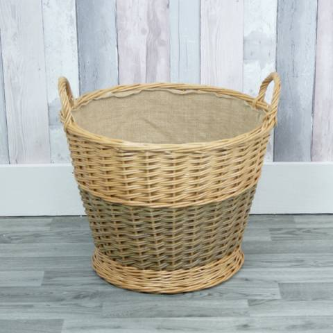 The Satchville Gift Company Round Log Basket With Hessian Liner