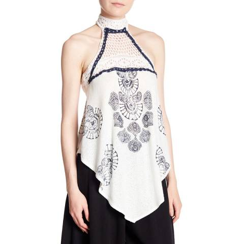 Free People White Printed Mandolin Tank Top