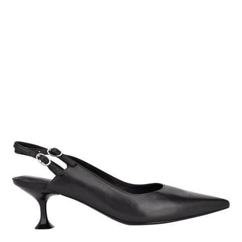 Sigerson Morrison Black Leather Slingback Heeled Pumps
