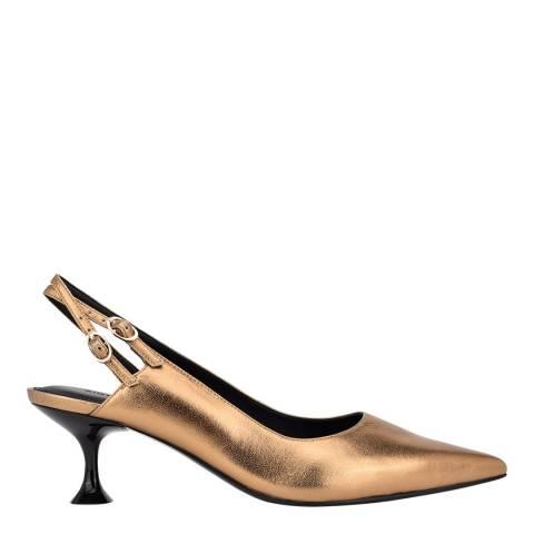 Sigerson Morrison Dark Gold Leather Slingback Heeled Pumps
