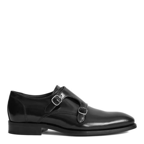 Reiss Black Leather Lansen Monk Shoe