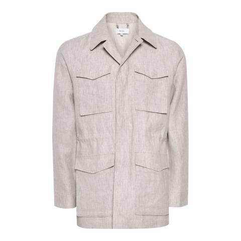 Reiss Stone Highbury Linen Field Jacket