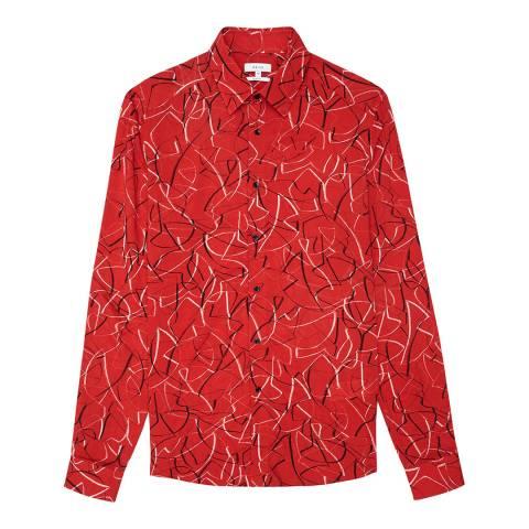 Reiss Red Hank Graphic Print Slim Shirt