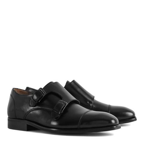 Reiss Black Leicester Buckle Shoes
