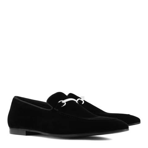 Reiss Black Nelson Suede Loafers