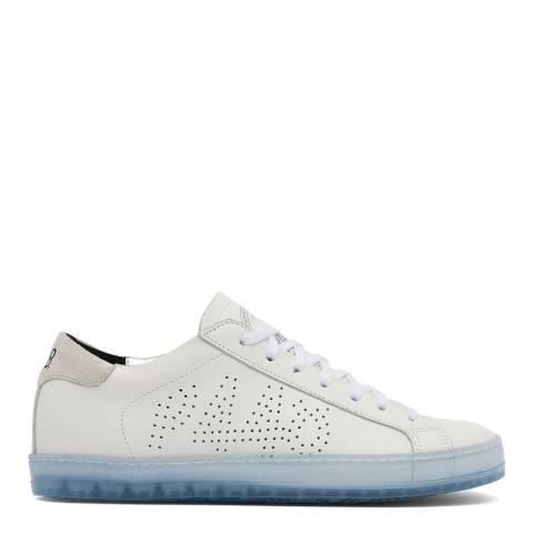 P448 White/Blue Leather John Trainers