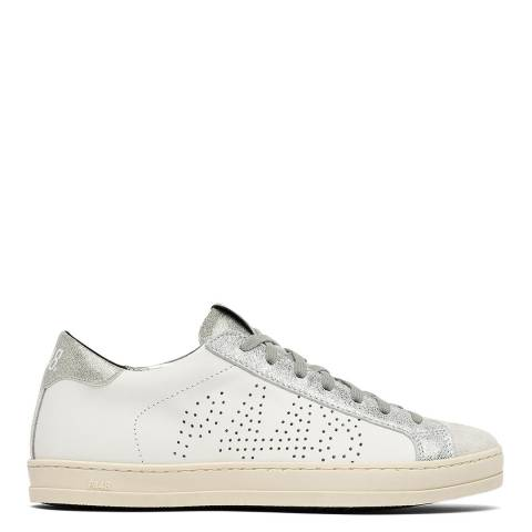 P448 White/Silver Leather John Trainers