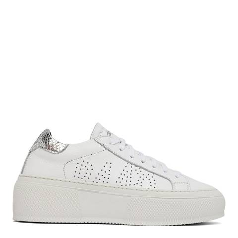 P448 White/Silver Leather Louise Trainers