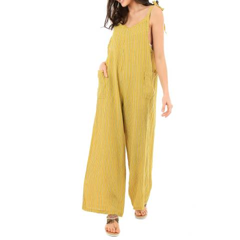 LIN PASSION Yellow Striped Linen Jumpsuit