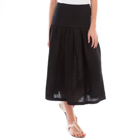 LIN PASSION Black Midi Linen Skirt