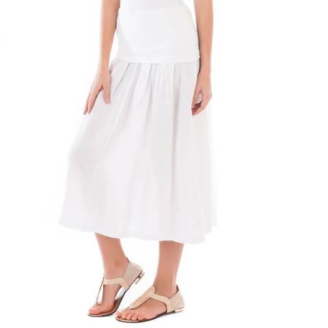 LIN PASSION White Midi Linen Skirt