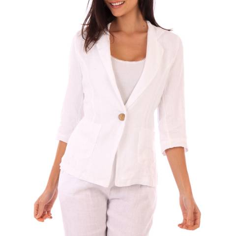 LIN PASSION White Linen Fitted Jacket