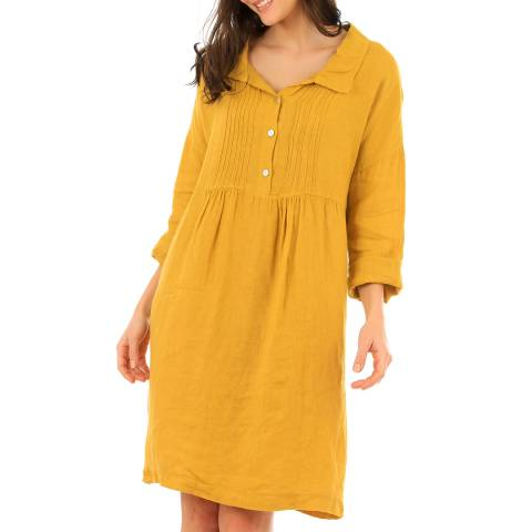 LIN PASSION Yellow Mini Linen Dress