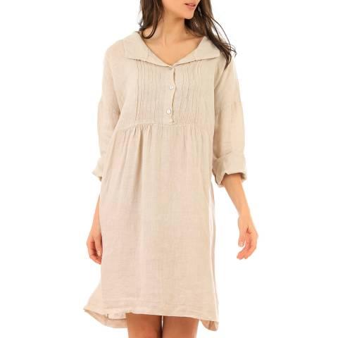 LIN PASSION Beige Mini Linen Dress