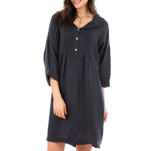 LIN PASSION Navy Mini Linen Dress