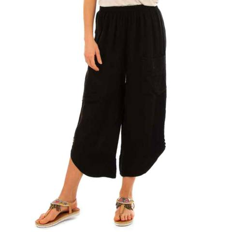 LIN PASSION Black Wide Leg Linen Trousers