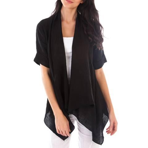 LIN PASSION Black Open Linen Jacket