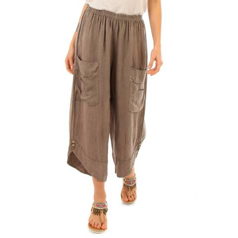 LIN PASSION Taupe Wide Leg Linen Trousers