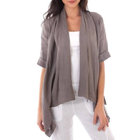 LIN PASSION Taupe Open Linen Jacket
