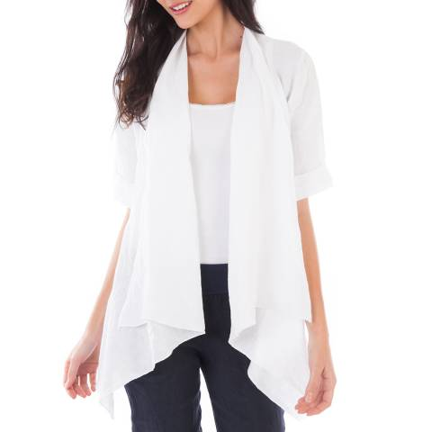 LIN PASSION White Open Linen Jacket