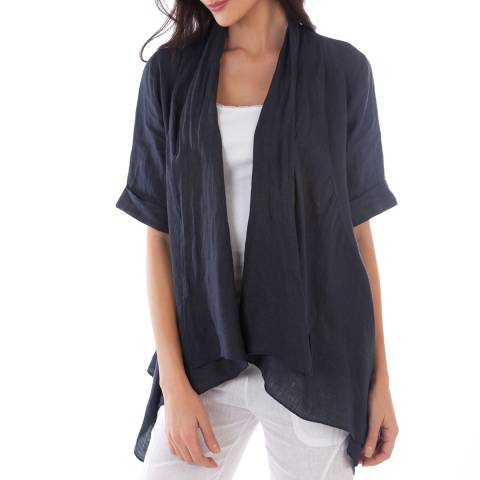 LIN PASSION Navy Open Linen Jacket