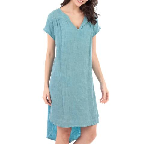 LE MONDE DU LIN Blue V Neck Linen Top