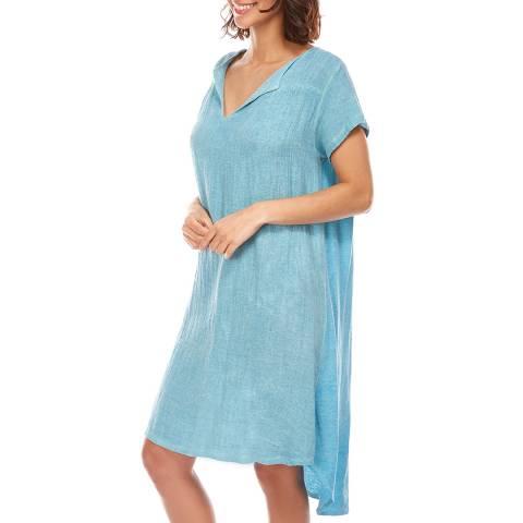 LIN PASSION Blue Knee Length Linen Dress