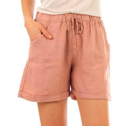 LIN PASSION Pink Mini Linen Shorts