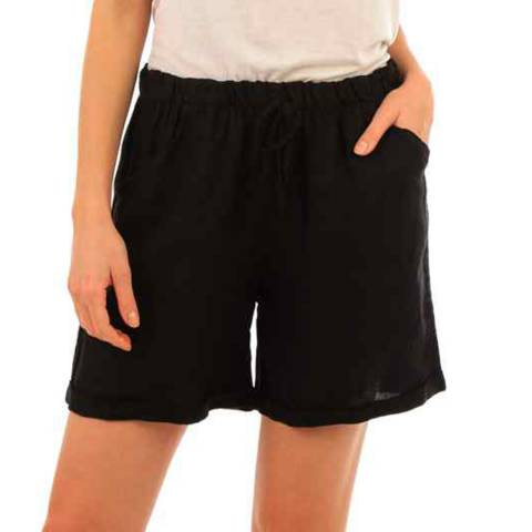 LIN PASSION Black Mini Linen Shorts