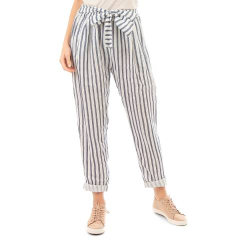 LIN PASSION White Belted Linen Trousers