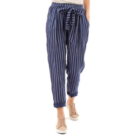 LIN PASSION Dark Blue Belted Linen Trousers