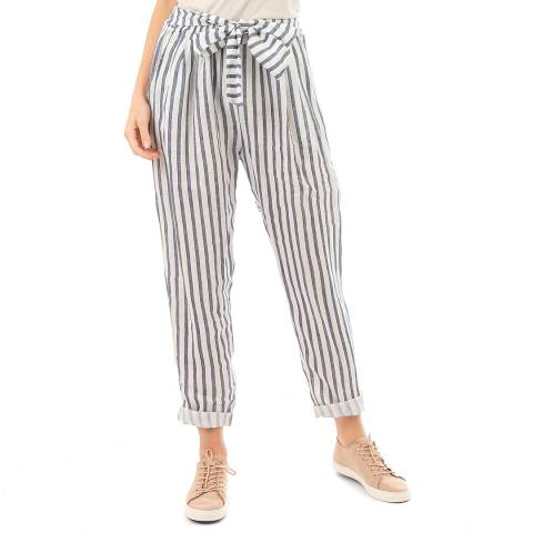 LIN PASSION Taupe  Belted Linen Trousers
