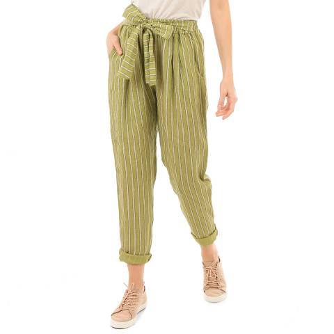 LIN PASSION Green Belted Linen Trousers