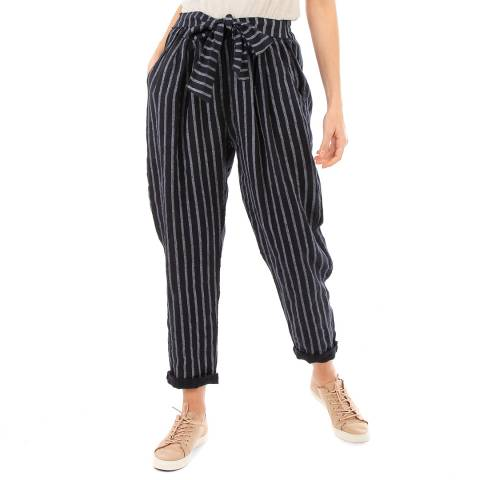 LIN PASSION Navy Belted Linen Trousers