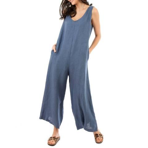 LIN PASSION Blue Wide Leg Linen Jumpsuit