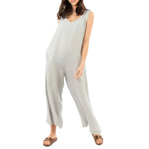 LIN PASSION Pale Grey Wide Leg Linen Jumpsuit