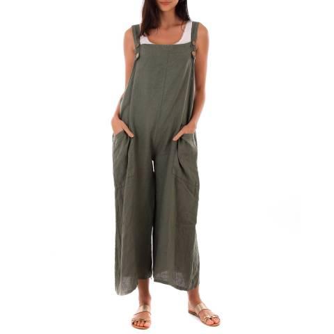 LIN PASSION Khaki Wide Leg Linen Jumpsuit