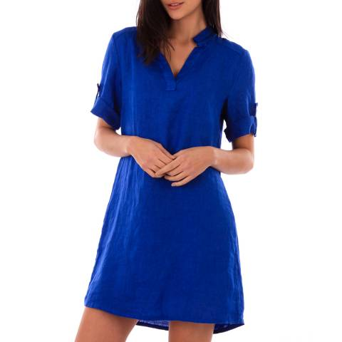 LIN PASSION Royal Blue Rolled Sleeves Linen Dress